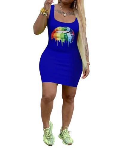 セクシーなタイトフィットプリントタンクドレス