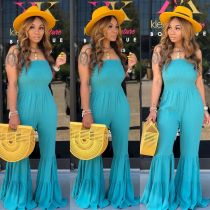 Fit-and-Flare Straps Bell Jumpsuits