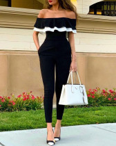 Off Shoulder Black Ruffles Jumpsuit