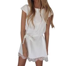 Mini vestido casual com bainha de renda