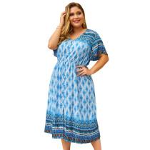 Plus Size Quasten V-Ausschnitt langes Retro-Kleid