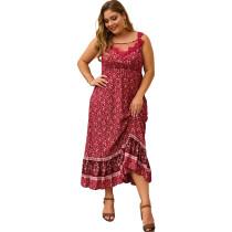 Plus Size Straps Flower Langes Kleid