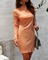 長袖のカジュアルなストリップミニドレス
