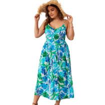 Plus Size Print grüne Träger langes Kleid