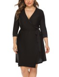 Plus Size Black Wrap Dress with Belt