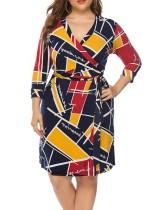 Artı boyutu renkli şal elbise kemer