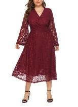Büyük Beden Dantel Uzun Şal Elbise