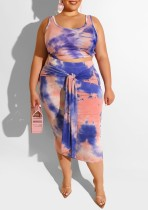Plus Size Colorful Tank Top and Knot Skirt