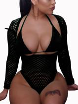 Sexy Langarm-Netz-Badebekleidung