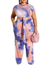 Plus Size Colorful Knot Shirt and Pants