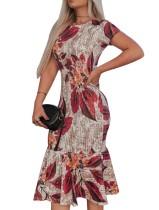 Robe de soirée sirène à fleurs et manches courtes