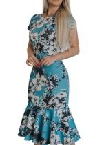 Vestido de fiesta de sirena de flores de manga corta