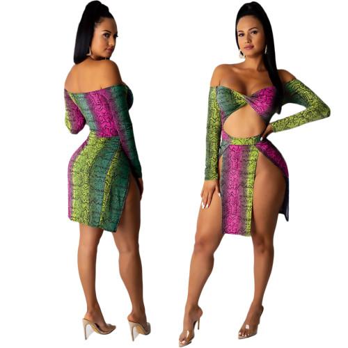 Sexy Schlangenhaut trägerlosen Schlitz Club Kleid