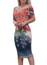 Off Shoulder Flower Midi-jurk