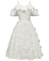 Träger V-Ausschnitt Bridemade Plüschkleid