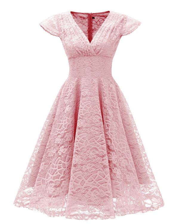 Overall Lace V-Neck Vintage Skater Kleid