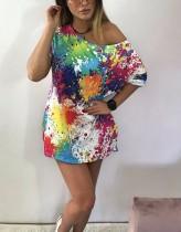 Camisa longa solta colorida