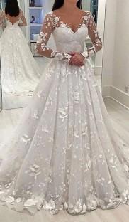 Beyaz V Yaka Uzun Kollu Gelinlik Gelin Kıyafeti
