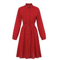 Rode polka lange mouw vintage jurk