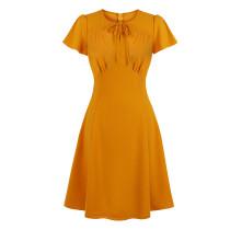 Gele hoge taille vintage jurk