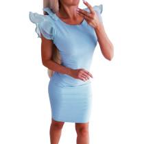 Mini vestido azul con cuello en O y volantes en los puños