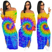 Vestido largo informal colorido fuera del hombro