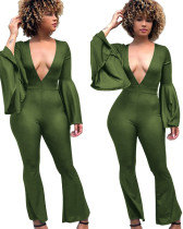 Pure Deep-V Sexy Jumpsuit con mangas anchas