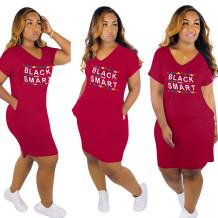 Платье с длинным рукавом и V-образным вырезом с принтом