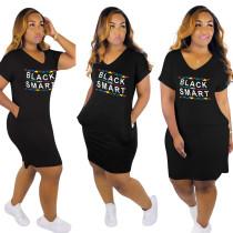 Langes, weites Hemdkleid mit V-Ausschnitt