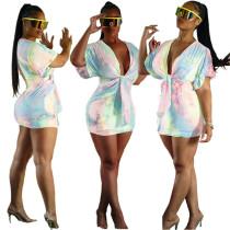 Seksi Renkli Derin V Mini Elbise
