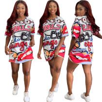 Drucken Sie bunte O-Neck Shirt Kleid