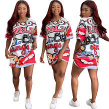 Imprimir vestido de camisa de O-cuello colorido