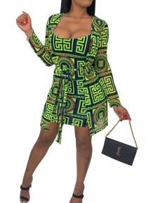 Print Bodycon Dress com blusa combinando