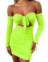 Mini vestido con pliegues y pliegues en nudo sexy