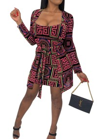Print Bodycon Dress with Matching Blouse