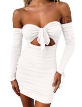 Seksi Sevgiliye Düğüm Mini Elbise Dantelli