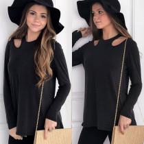 Camisa de manga comprida pura cortada preta