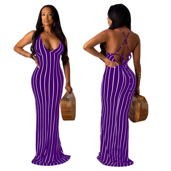 Vestido de sirena larga con rayas cruzadas en la espalda