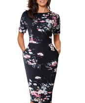 Floral O-Neck Pocket Midi-Kleid