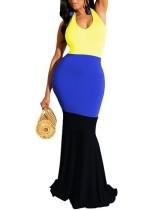 Kontrast Uzun Askılı Deniz Kızı Elbisesi