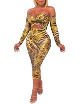 Cut Out Strapless Snake Skin Midi Dress