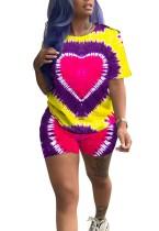 Camisa y pantalones cortos coloridos del O-cuello