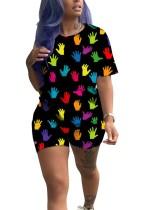 Buntes O-Neck Shirt und Shorts