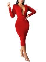 Deep-V Sexy Langarm Pure Midi Kleid
