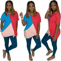 Camisa solta com contraste O-Neck