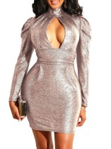 Keyhole Sequins Long Sleeve Party Dress