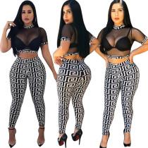 Top e leggings con stampa a rete con stampa sexy
