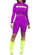 Purple Stripes Tight Shirt and Shorts