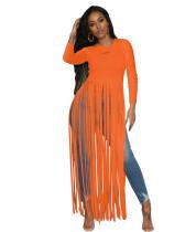 Chemise longue à franges et à manches longues