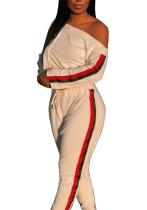 White Stripes Slash Shoulder Crop Top and Pants